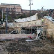 Budapest Lánchíd Budai hídfő támfal budakalászi mészkő